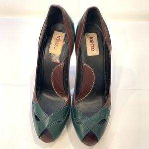 KENZO Tri-Color Open Toe Heels Sz 39